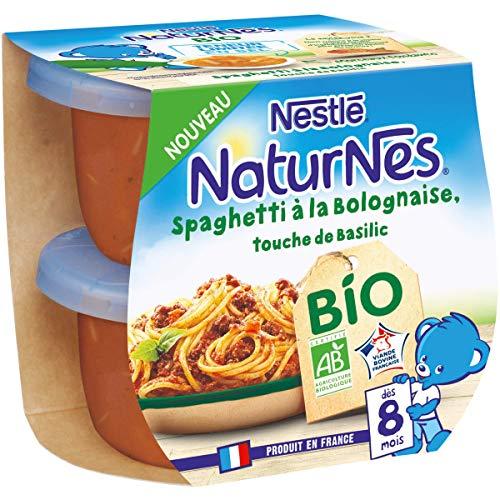 Nestlé Naturnes BIO - Petits pots bébé Spaghetti à la Bolognaise, touche de basilic - Dès 8...