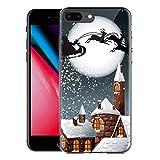 ZhuoFan Funda para iPhone 8 Plus / 7 Plus, Cárcasa Silicona 3D Transparente con Dibujos Navidad Diseño Suave TPU Antigolpes de Protector Case Cover Fundas para Apple iPhone8Plus iPhone7Plus, Navidad 5