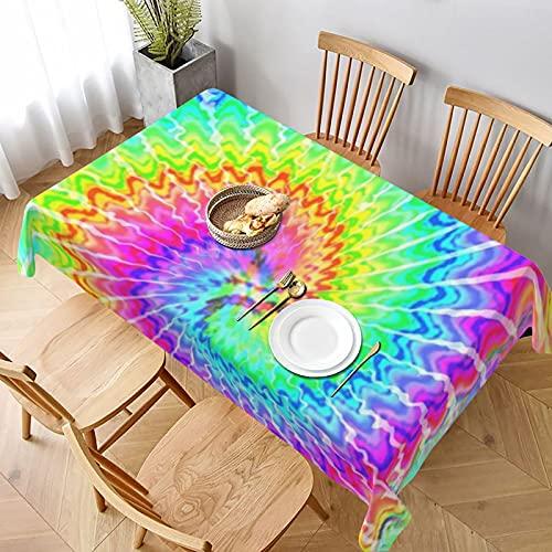 Tovaglia lunga 152 x 228 cm, tinta unita, arcobaleno, motivo psichedelico, festival musicali, tovaglia per casa, cucina, cena, picnic, banchetti, agriturismo, festa