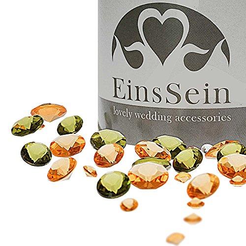 EinsSein 600x Diamantkristalle 12-10- 5mm Mix apricot-olivgrün Dekoration Streudeko Konfetti Tischdeko Hochzeit Diamanten Diamant Glas groß Geburtstag