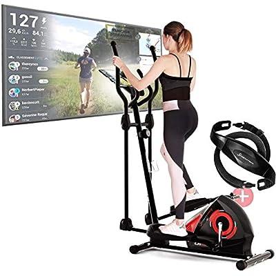 Sportstech CX608 Bicicleta Elíptica para Casa | Marca de Calidad Alemana | Video Eventos, App Multijugador & Consola Bluetooth | Elíptica con Cinturón de Pulso | Entrenamiento | Soporte para Tablet