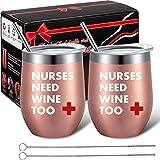Boao 2 Paquetes Vaso de Vino Divertido Vaso de Café 12 oz, Nurses Need Wine Too, Regalo de Cumpleaños Día de Enfermeras Fin de Año para Enfermera Registrada Practicante Compañera