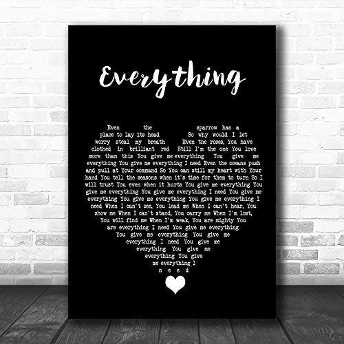 LIFEXGROUP Lauren Daigle Everything Black Heart Song Lyric Quote Music Print Print Wall Decor Art Gifts Lovers Poster