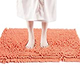 FRESHMINT Chenille Bath Rugs Extra Soft and Absorbent Microfiber Shag Rug, Non-Slip Runner Carpet for Tub Bathroom Shower Mat, Machine-Washable Durable Thick Area Rugs (20' x 32', Coral)