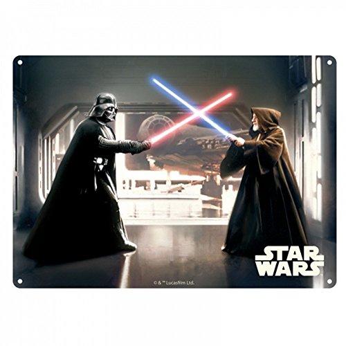 Star Wars - Plaque en tôle A3 avec inscription en allemand Ein Neue Hoffunung - Obi Wan Vs. Dark Vador - Episode 4