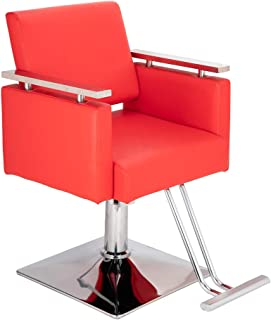 Mefeir Styling Chair Beauty Hair Salon Equipment, Modern Hydraulic Hairdressing Barber Chair with Square Base Footrest Red PVC Leather