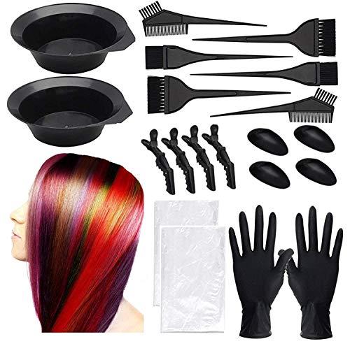 Dee Banna® 20 Pcs Haar Färben Färbung Set, DIY Haarfärbemittel Set,einschließlich Bürstenkamm, Haartönungsschale, Färbebürste, Ohrabdeckung, Handschuhe für Salon Haarfärbemittel