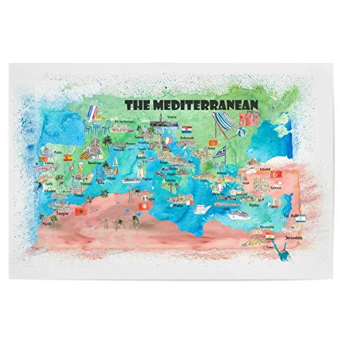 artboxONE Poster 60x40 cm Städte Mittelmeer Kreuzfahrt Karte - Bild mittelmeer