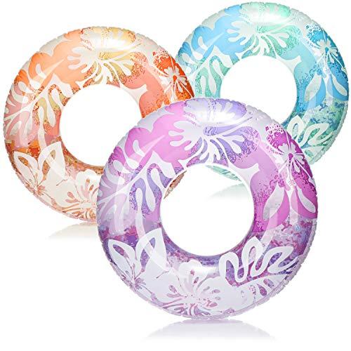 com-four® 3X Schwimmreifen - Schwimmring im Hawaii-Design in sommerlichen Farben - Ideal für Strand und Pool [Auswahl variiert] (03 Stück - Ø 89.5cm Hawaii)