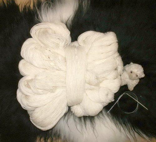 Natur-Fell-Shop Wolle Schafwolle Schurwolle STRICKGARN Weiss 1000g