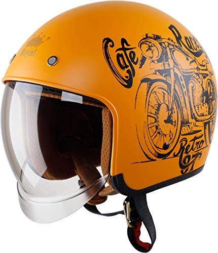 Royal M139 Open Face Motorcycle Helmet - DOT Approved, Multi-Sport Impact Protection with Unique Design and Classic Style for Adult Men and Women (Matte Gold, M)