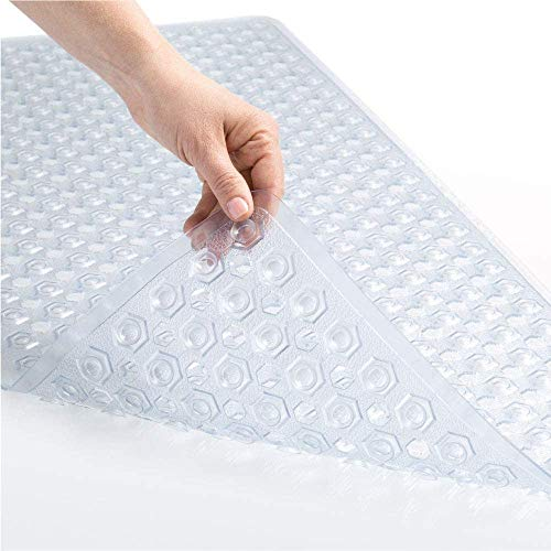Gorilla Grip Original Patented Bath, Shower Tub Mat, 35x16, Many Colors, Washable, XL Size Bathroom Bathtub Mats, Drain Holes, Suction Cups, Clear