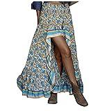 aihihe Womens High Low Side Skirts Boho Floral Print Long Skirt Ruffle Hem Elastic Waist Swing Maxi Dresses Blue