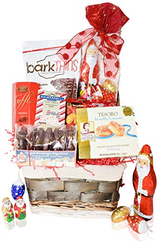 Christmas Baskets - Santa, Chocolate, Gourmet, Food, Holiday, Cookies, Candy Xmas Variety Gift for Family Friends Colleagues Office Men Women Corporate Her Him Kids Son Daughter Students Mom and Dad