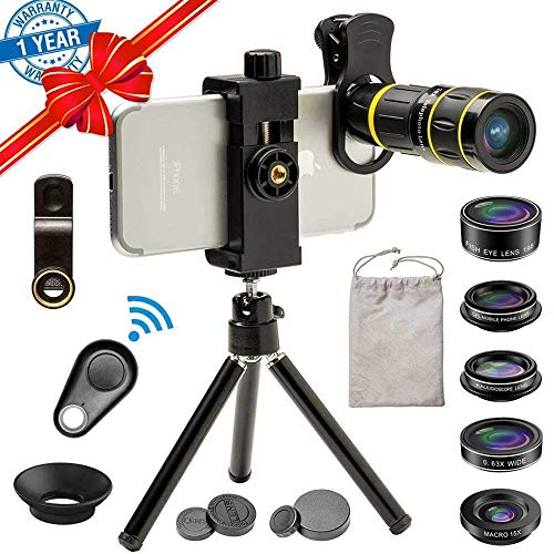 Cell Phone Camera Lens Kit, SEVENKA 18X Zoom Telephoto Lens with Remote Shutter, Tripod, Fisheye, Macro and Wide Angle Lens for iPhone 11 Pro Max X XS Max XR/8/7/6/6s Samsung Android Smartphone
