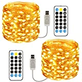 TOPYIYI Guirnalda Luces, [2 Pack] 120 LED 12M Cadena de Luces USB Impermeable IP65, Luces ...