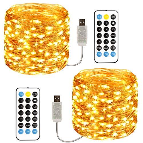 Stringa Luci LED 12M*2 Pezzi, TOPYIYI catena luminosa 120 LED USB Impermeabile IP65, Lucine LED Decorative da Interni e Esterni per Camere da Letto Casa Feste Natale Matrimonio