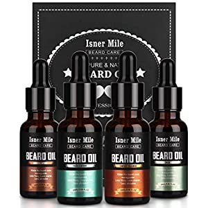 4 Pack Beard Oil Set Leave in Conditioner, Cedarwood, Sandalwood, Sage, Sweet Orange for Men Mustaches Growth, Soften… 1