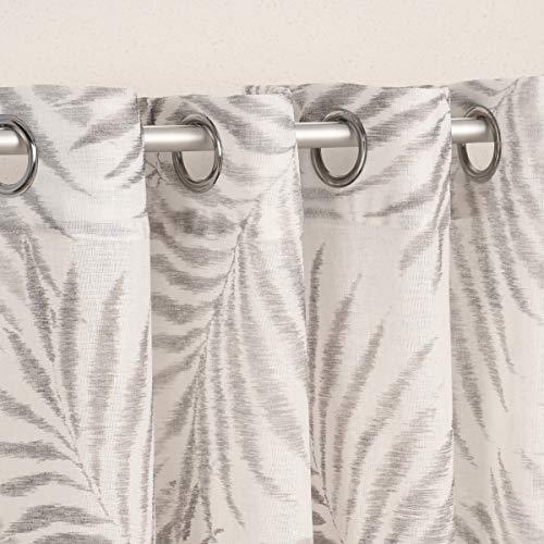 SCHÖNER LEBEN. Cortina con ojales, estructura de lino, estampado de hojas de palmera, color blanco y gris, 140 x 260 cm