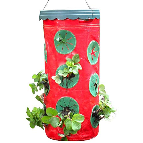 Leap-G Strawberry PSaving Strawberry Grow Bag, Portable Strawberry Planter Labor Inverted Strawberry Planter Grow Containers for Balcony Courtyard Gardening Lanter Labor Saving Strawberry Grow Bag