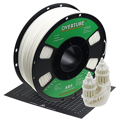 OVERTURE Filamento ABS de 1,75 mm con superficie de construcción 200 mm x 200 mm Consumibles de impresora 3D, carrete de 1 kg (2,2 libras), precisión dimensional +/- 0,05 mm(blanco)