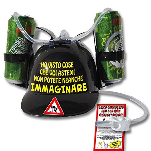 Bombo Casco Porta lattine augurale per Bere a Mani libere 'Ho visto cose che voi astemi non potete neanche immaginare'