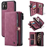 CaseMe for iPhone 11 Wallet Case, Durable Handmade PU Leather Zipper Detachable Magnetic Phone Case for iPhone 11 (6.1 inches) Case Wallet Clutch Purse with 15-Card Slots Holder for Women Men, Red