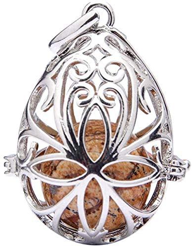 Collar Mujer Collar Hombre Árbol de la vida Collar de bola de cuarzo Colgante que se puede abrir Cadena de piedra de cristal Piedra curativa de cuarzo Colgante de piedra de cristal-Piedra del paisaje