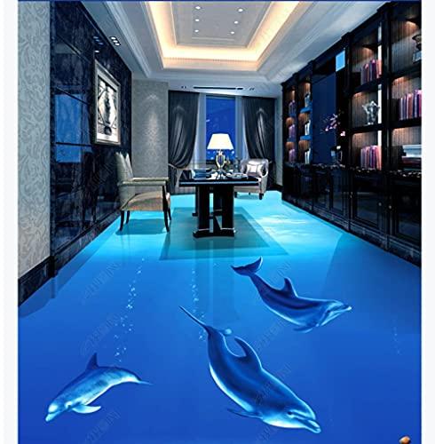 Empaquetado de baldosas autoadhesivas Beautiful Dolphin Underwater World 3D Stereo Baño Floor Tiles-250 * 175Cmfloor Pintura al óleo Piso Sala de estar