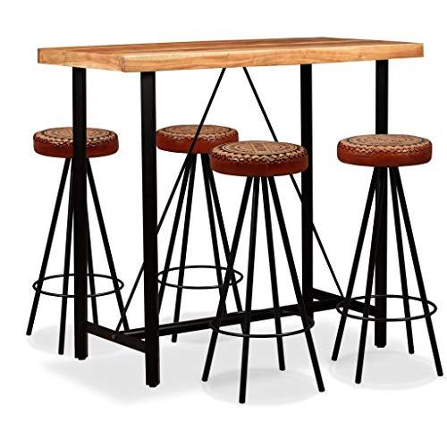 UnfadeMemory Mesa Alta y Taburetes de Bar o Restaurante,Mesa y Sillas de Comedor Cocina,Muebles de...