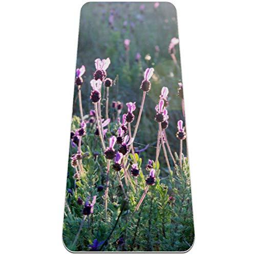 BestIdeas Esterilla de yoga con flores de lavanda para yoga, pilates, ejercicio de suelo para hombres, mujeres, niños, niños, principiantes, diseño antideslizante