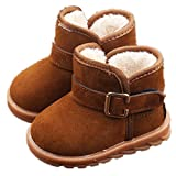 EsTong Toddler Baby Boy Girl Thick Winter Outdoor Snow Boots Anti-Slip Fur Lined Booties Brown 21:12-18Months/5.1