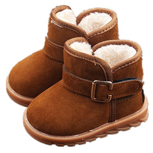 """EsTong Toddler Baby Boy Girl Thick Winter Outdoor Snow Boots Anti-Slip Fur Lined Booties Brown 21:12-18Months/5.1"""""""