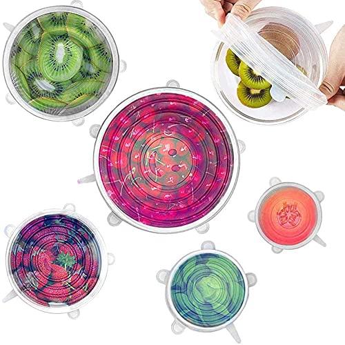 6 tapas elásticas de silicona de cocina reutilizables, tapas elásticas de silicona, reutilizables, para alimentos, 6 unidades