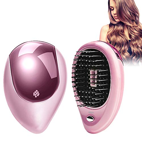 Mini Tragbare ionische Haarbürste Mini Haarbürste Kamm elektrische Vibration Massage Kamm Ionic Hair Straightener Brush (Rosa)