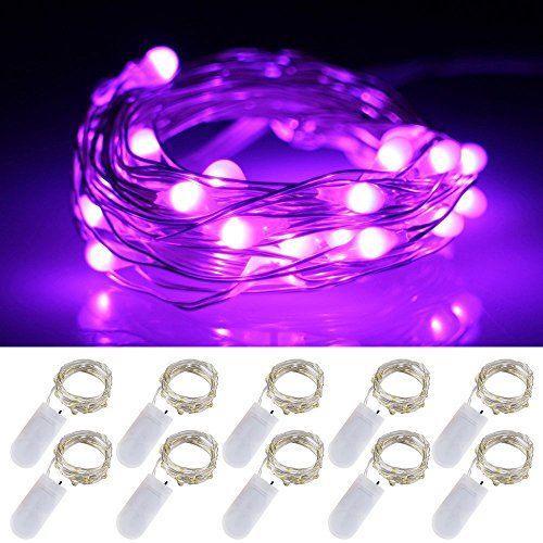 LXS Battery Operated Fairy Lights 10 Sets of 2M /20 LED,Amazingly Bright - Ultra-Thin Flexible Easy to Wrap Silver Wire for Halloween Christmas Wedding Party,Fairy Light Effect(10PCS-Purple)