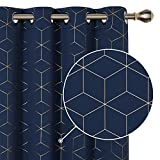 Deconovo Blackout Grommet Curtains Thermal Insulated Window Curtains Gold Diamond Foil Print