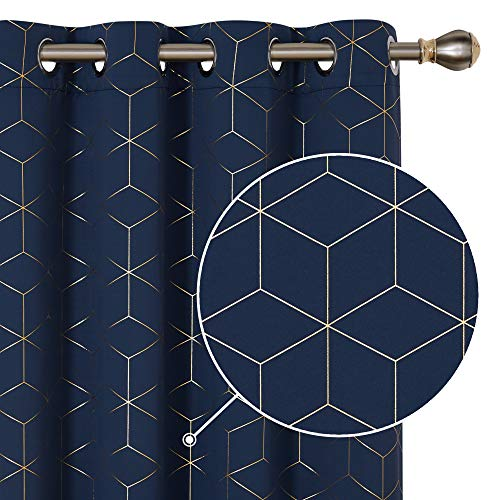 Deconovo Curtains Gold Diamond Foil Print Room Curtains Thermal Insulated Noise Reducing Window Grommet Drapes for Living Room Navy Blue 52W x 84L Inch 2 Panels