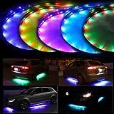 Lychee FLEXIBLE multicolore RGB LED Flash NEON PouR AUTO SOUS CHASSIS Strip Glow Eclairage IR Telecommande 90x120 CM IP68 etanche avec fonction de contrôle acoustique et contrôle de télécommande sans fil