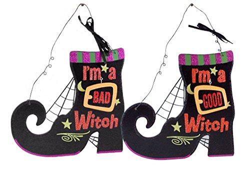 SJL Company Gancho de parede reversível de madeira de bruxa I'm a Good Witch & I'm A Bad Witch