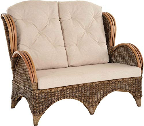 korb.outlet Rattan-Sofa 2-Sitzer Korbsofa inkl. Polster, Sofa nach Art wie Ohrensessel Hochlehn-Sofa Wintergarten Couch Rattanmöbel (Vintage Braun)