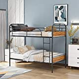 LoLado Twin Over Twin Metal Bunk Beds with Wood Headboards,Industrial Water Pipe Convertible Bunk Beds for Kids Teens Adults (Wooden Headboard)