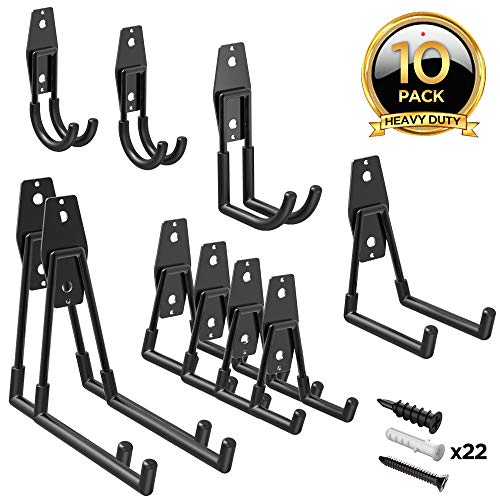 ORASANT Garage Hooks Heavy Duty, Steel Garage Storage Hooks for Garage Organization, Super Strong Utility Garage Wall Hooks, Garage Hangers Tool Hangers for Bikes, Ladders etc. (10-Pack Black)