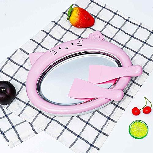 Máquina de yogur frito, máquina pequeña hecha en casa para hacer hielo, máquina de helado frito, máquina de yogur (rosa)