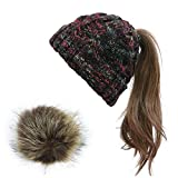 VOASTEK Womens Winter Knitted Beanie Hat, Women's Ponytail Beanie with Removable Pom Warm Knit Skull Cap Beanie for Women