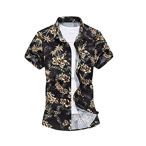 Camisa Hombre Moderno Urbano Básico Slim Stretch Hombre Shirt Verano Moda Estampado Cárdigan Hombre Manga Corta Casual Vacaciones Wicking Transpirable Playa Shirt TD02 S