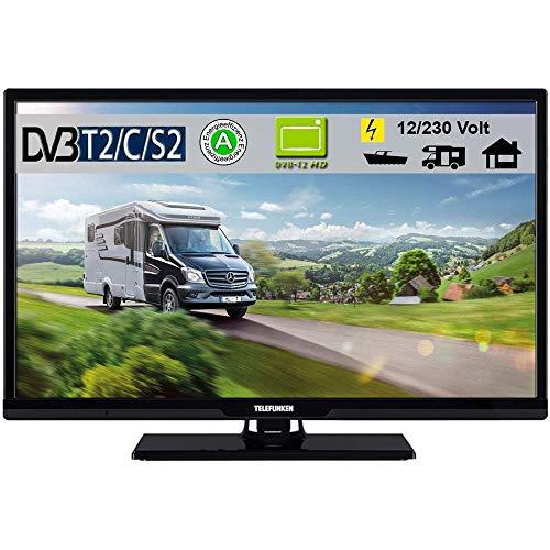 Telefunken T24X720 mobil LED Fernseher TV 24 Zoll 61 cm, WideScreen Bilschirm, DVB-C (Kabel digital) DVB-T2 (digital Terrestrisch, neuster Standard H.265) DVB-S / S2 (digital Sattelit incl. HD-Kanäle) 12/230 Volt
