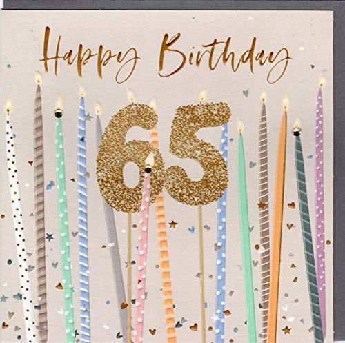Belly Button Designs Specjalna kartka z życzeniami na 65 urodziny z tłoczeniem i kryształami, idealna również na prezent pieniężny lub bon podarunkowy. BE240