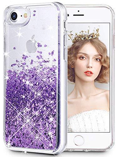 wlooo Hülle für iPhone SE 2020, iPhone 8 Glitzer Handyhülle, Glitter Flüssig Treibsand Weich Silikon TPU Bumper Original Schutzhülle Mädchen Frauen Case für iPhone SE 2020/6/6S/7/8 (Lila)