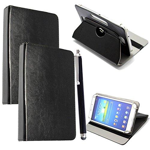 Custodia per Tab Cover con Meccanismo di Rotazione di 360° per Posizionamento Verticale ed Orizzontale del Tablet + Stylus (Universal 9.6'' - 10.1'', Plain Black Book)